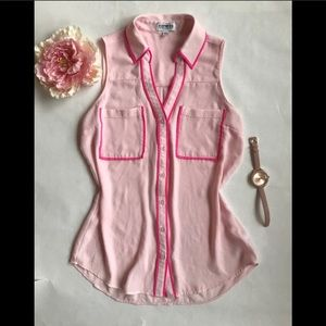 EXPRESS PORTOFINO pink sleeveless button up blouse